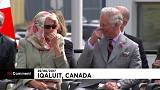 Charles and Camilla giggle at Inuit performance