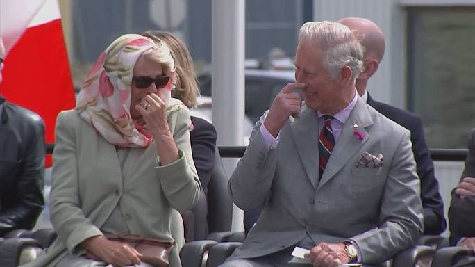 Charles and Camila giggle at throat-singing performance