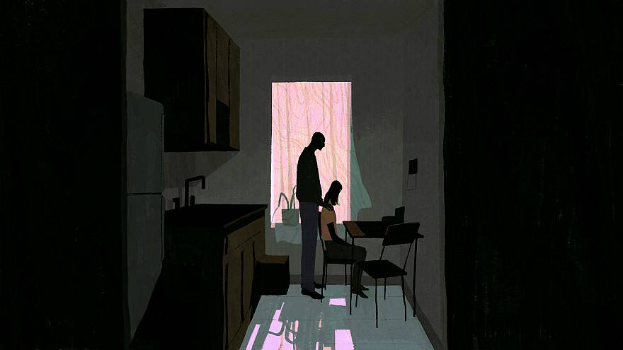 Illustration of a man and girl standing in kitchen.