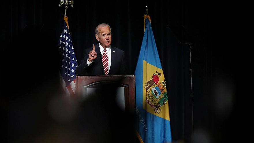 Image: U.S. former Vice President Biden delivers remarks at the First State