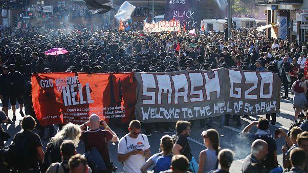 تظاهرات در هامبورگ آلمان همزمان با نشست گروه بیست