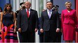 ویدیوی دست ندادن سهوی بانوی اول لهستان با دونالد ترامپ