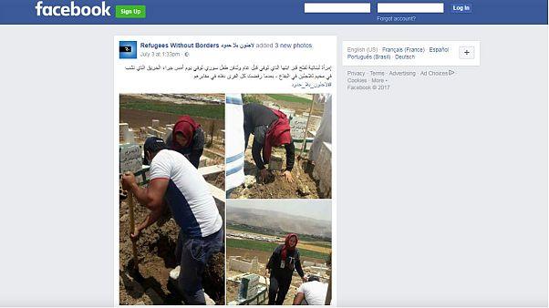 زن لبنانی پیکر کودک پناهجوی سوری را در کنار جسد فرزندش خاک کرد