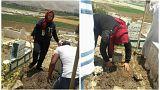 لبنانية تفتح قبر ابنها لتدفن طفلا سوريا لم يجد قبرا يضمَه