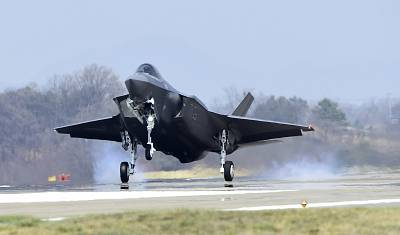 An F-35 fighter jet lands in South Korea last month.