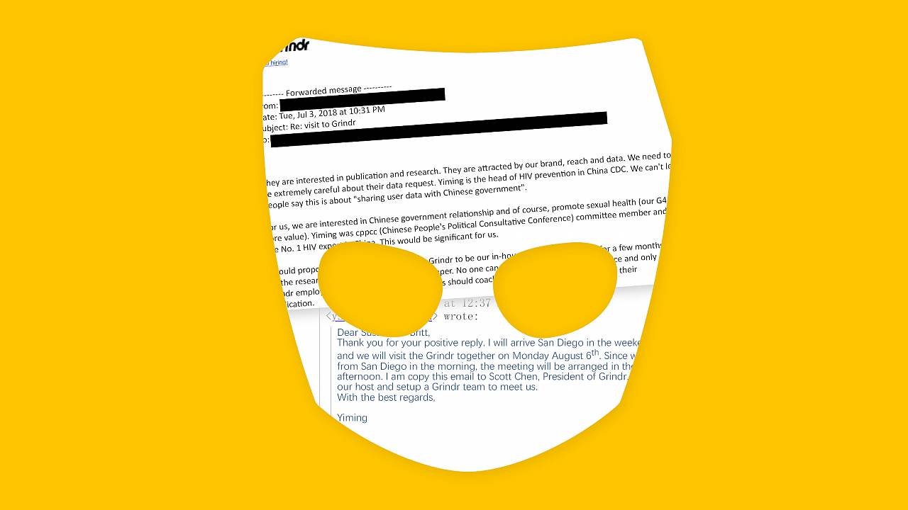 Photo collage of emails in Grindr logo mask.