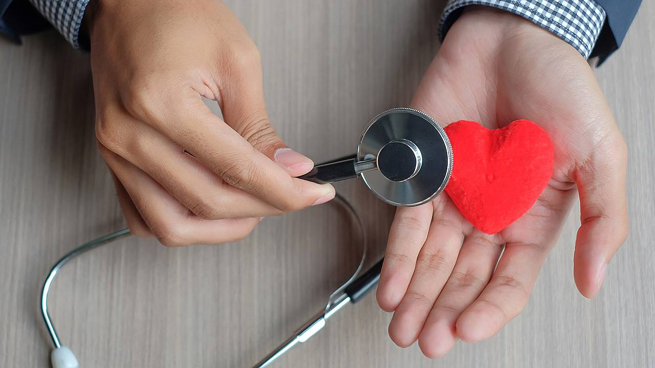 Cropped Hands Of Doctor With Heart Shape Toy