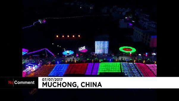 Festival de lumière dans un village chinois