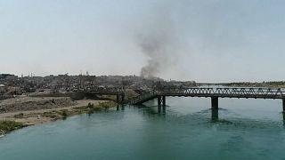 Légi felvétel a szétlőtt Moszulról