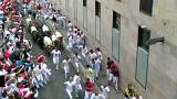 Hundreds attempt to outrun bulls in Spanish festival