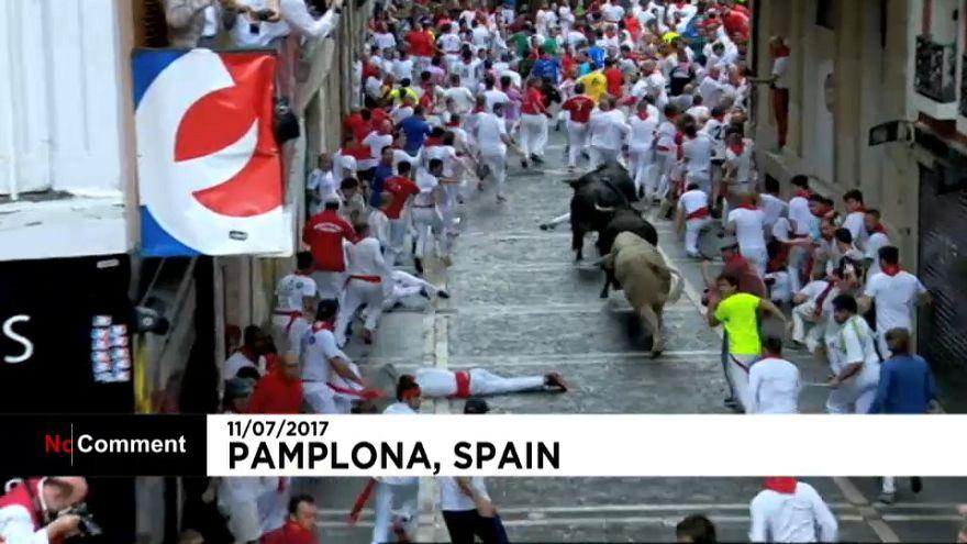 جشن فرار از گاوهای وحشی در شهر پامپلونای اسپانیا