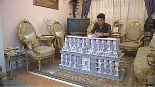 Egyptian student builds epic monuments out of cards