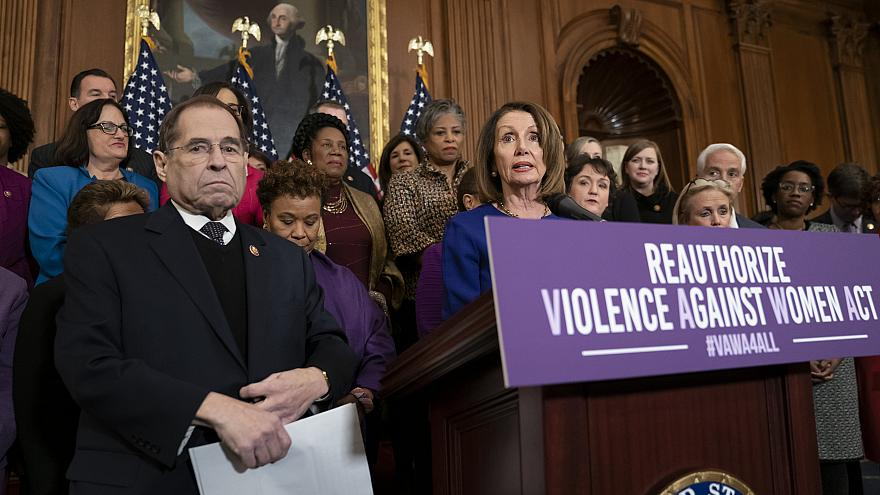 Image: Speaker of the House Nancy Pelosi calls to reauthorize the Violence
