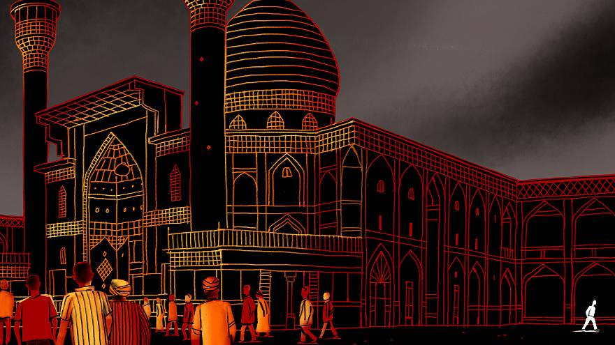 Image: Illustration of an isolated figure outside of a mosque.