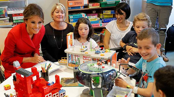 Melania Trump visits France's largest paediatric hospital