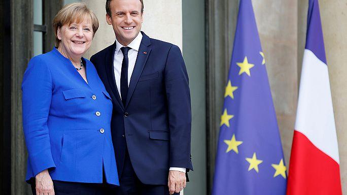 Almanya Başbakanı Merkel ve Fransa Cumhurbaşkanı Macron'dan işbirliği sözü