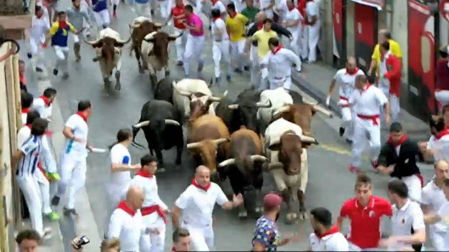 Dos heridos por asta de toro en el encierro de San Fermín