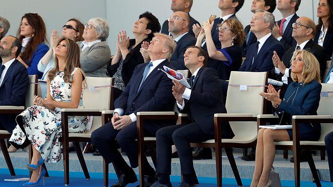 Macron e Trump alla parata del 14 Luglio a Parigi