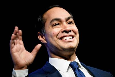 "Julian Castro, a 2020 presidential hopeful, speaks during the ""We the People"" gathering at the Warner Theatre in Washington on April 1, 2019."