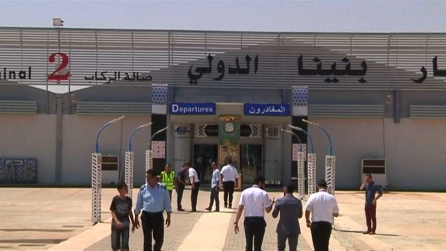 مطار بنينا بنغازي الدولي في اولى رحلاته الرسمية