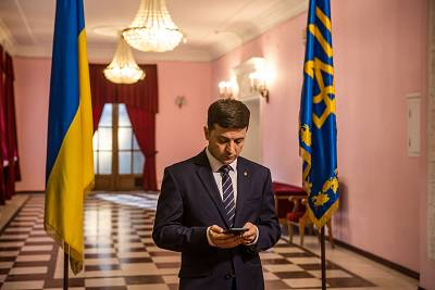 """Volodymyr Zelenskiy on the set of """"Servant of the People,"""" the TV series in which he plays Ukraine\'s president, in February."""