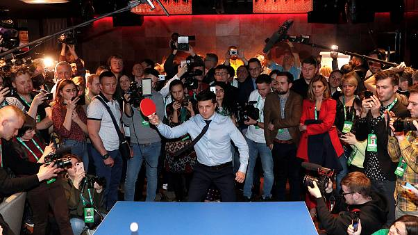 Image: Volodymyr Zelenskiy plays table tennis at his campaign headquarters