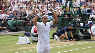Roger Federer wins Wimbledon men's final for the eighth time 6:3, 6:1, 6:4.