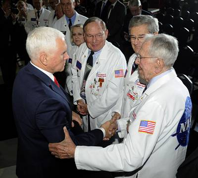 Vice President Mike Pence, left, speaks with museum docents at the National Space Council meeting held at the U.S. Space and Rocket Center on March 26, 2019, in Huntsville, Alabama.