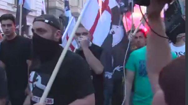 تظاهرات ملی گرایان گرجستان علیه مالکان ایرانی و عربی کلوپها