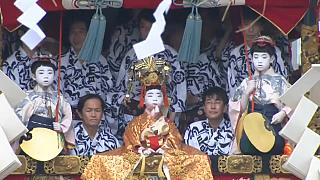 Floats parade through Kyoto for Gion Festival