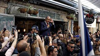 Image: Israeli Prime Minister Benjamin Netanyahu speaks to supporters at th