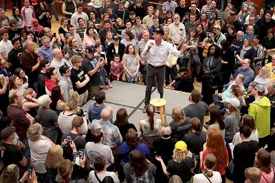 Beto O\'Rourke speaks to supporters at a campaign rally at the University of Iowa on April 7, 2019.
