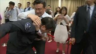 Watch: Brawl in Taiwan's parliament