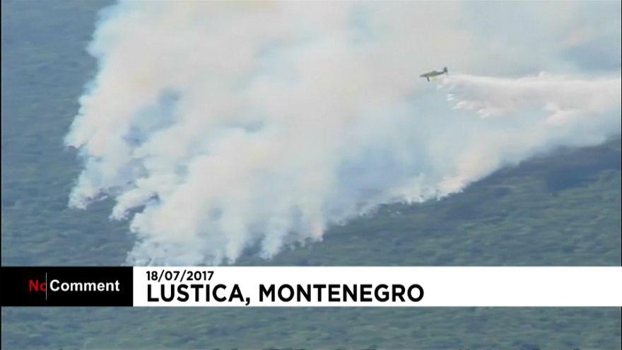 تلاش آتشنشانان مونتهنگرو برای مهار چندین آتش