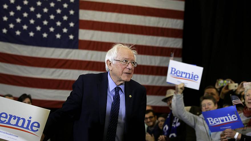 Image: Sen. Bernie Sanders arrives for a campaign rally in Concord, New Ham