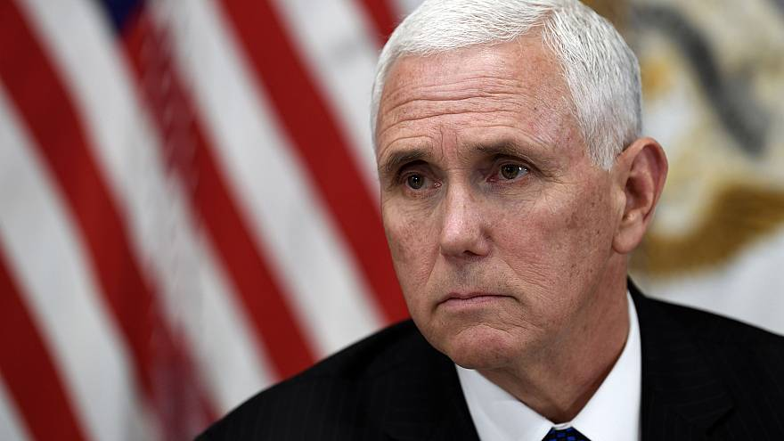 Image: Vice President Mike Pence listens during a meeting at the White Hous