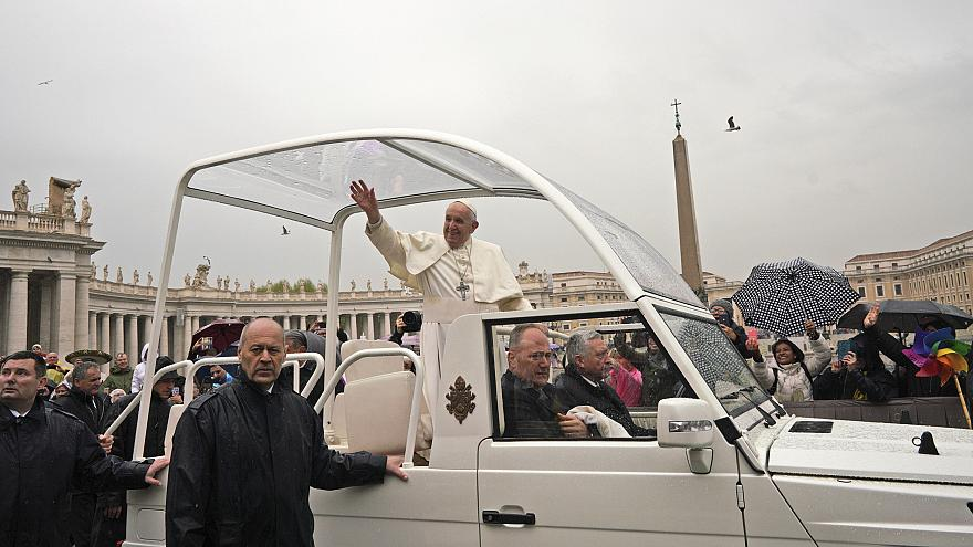 Image: Pope Francis in St. Peter's Square at the Vatican
