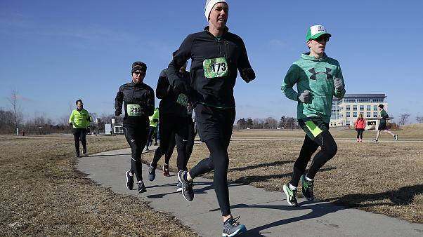 Image: Beto O'Rourke participates in the Lucky Run 5k Race in North Liberty