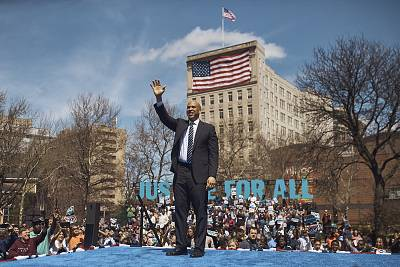 Democratic presidential candidate Sen. Cory Booker salutes the crowd during a hometown kickoff for his national presidential campaign tour at Military Park in downtown Newark on April 13, 2019.
