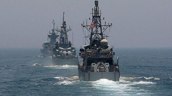 مناورات عسكرية أمريكية قطرية في مياه الخليج