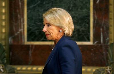 U.S. Education Secretary Betsy DeVos at the White House in Washington on Aug. 16, 2018.