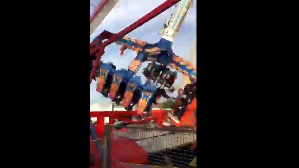 Amateur video captures moment fair-ground ride collapses
