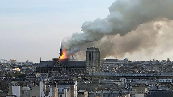Image: The burning roof of Notre Dame Cathedral