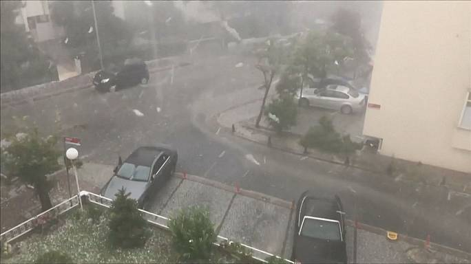 Summer rainstorms see Istanbul pounded by hailstones the size of golf balls
