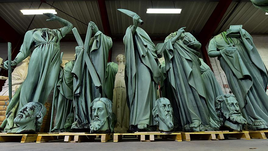 Image: Statues that around Notre Dame were recently removed for restoration