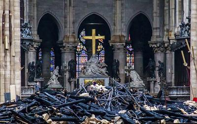 Debris within fire-ravaged Notre Dame Cathedral.