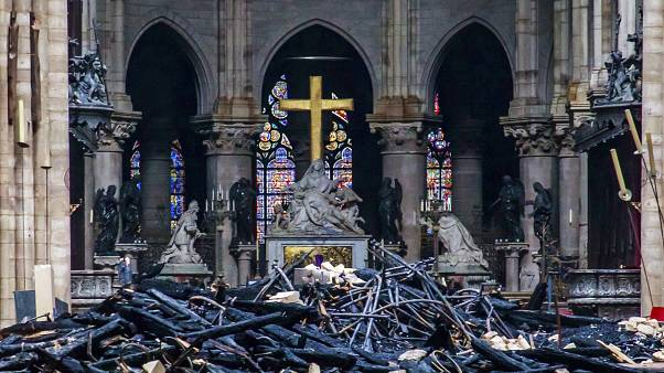 Image: Debris within Notre Dame Cathedral