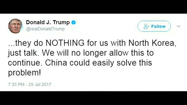 Trump hits out at China over North Korea's missile programme