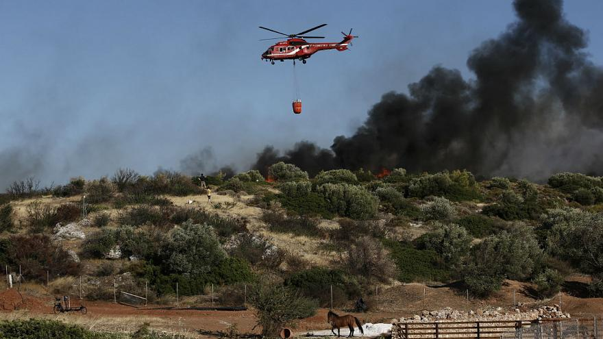 Waldbrand und starke Winde 30km südlich von Athen