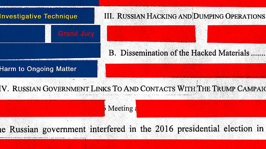 Illustration of Mueller report redactions creating an American flag.